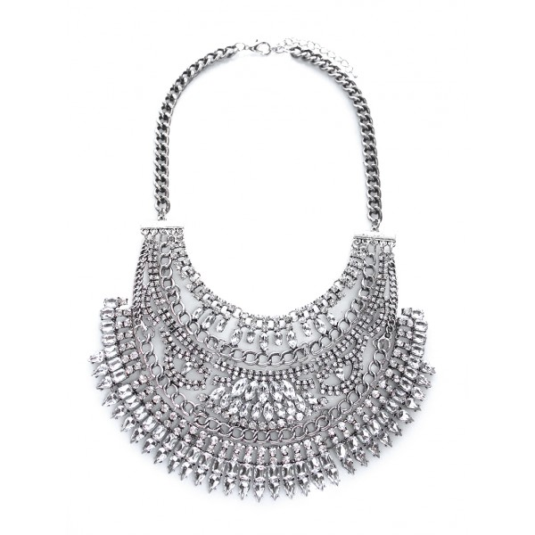 Amazon Silver Crystal Tiered Chain Bib Necklace