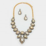 Silk Topaz Crystal Felt Back Statement Necklace Set