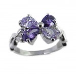 Amethyst Floral Crystal Engagement Ring