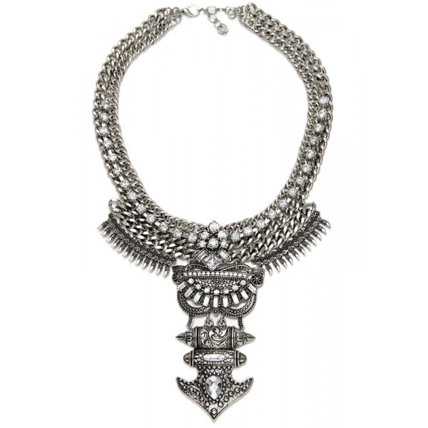 Amazon Crystal Floral Warrior Bib Necklace