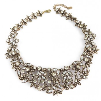 Ice Laurel White Crystal Vintage Gold Bib Necklace