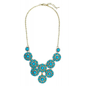 Turquoise Beaded Stone Bloom Statement Necklace