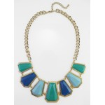 Casablanca Colorblock Geo Panel Statement Necklace