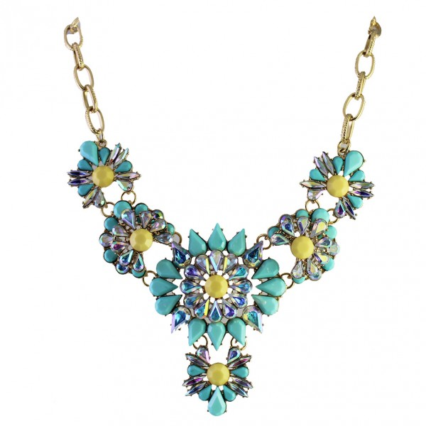 Aqua Marine Flower Borealis Bib Necklace