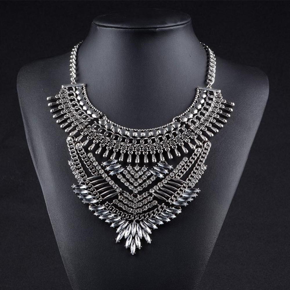 Fashion Gold Chain White Crystal Chunky Choker Statement Pendant Source Atxi Art Deco Diamante Geo Bib