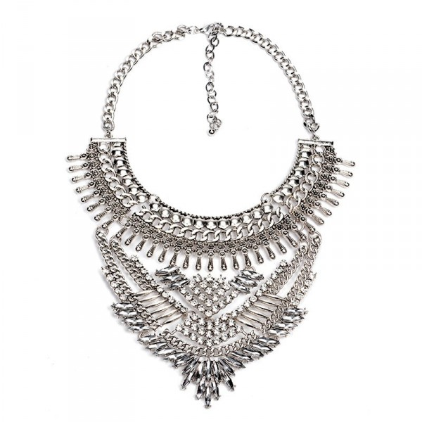Atxi Art Deco Diamante Geo Bib Maxi Necklace