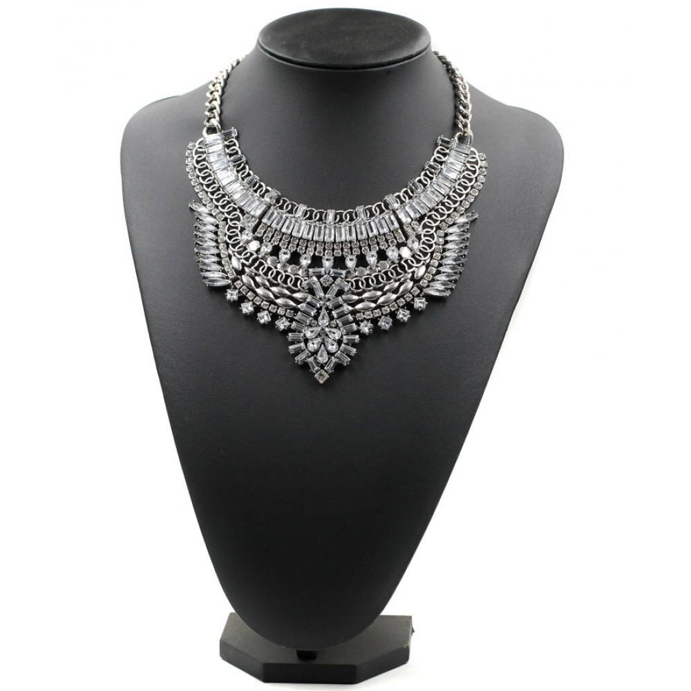 Art Deco Diamante Crystal Silver Plated Bib Statement Necklace