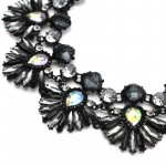 Black Handpainted Crystal Feather Aurora Necklace