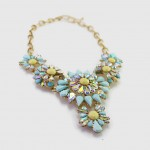 Aqua Flower Borealis Stone Bib Necklace