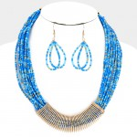 Gold and Blues Beaded Multi-Strand Statement Necklace