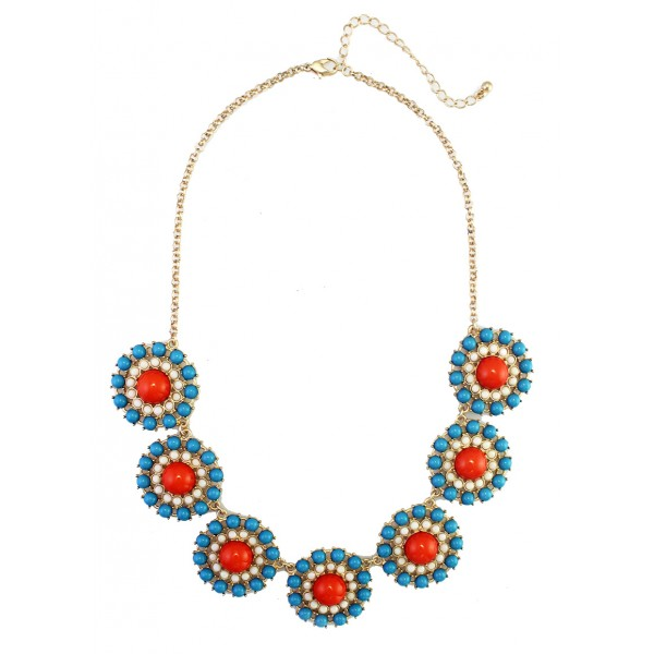 Teal Red Colorblock Enamel Circles Necklace