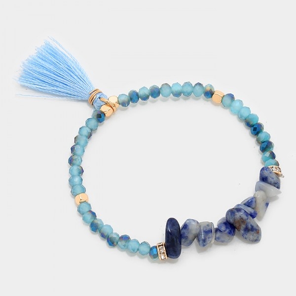 Tassel Natural Stone Fragments Beaded Bracelet