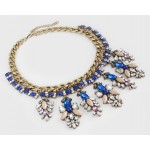 Laurel Cobalt Crystal Floral Fringe Statement Necklace