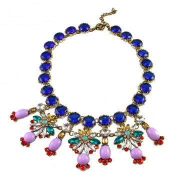 Pastel Cobalt Firework Stone Encrusted Statement Necklace