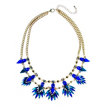 Peacock Jeweled Feather Bursts Necklace