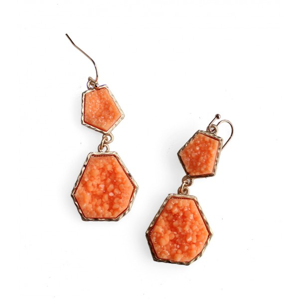 Coral Geometric Druzy Stone Earrings