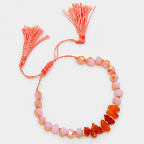 Coral Natural Stone Double Tassel Bracelet