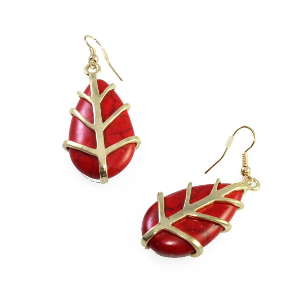 Theon Red Marbled Teardrop Stone Earrings