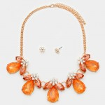 Tangerine Floral Crystal Statement Necklace