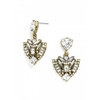 Ice Warrior Crystal Art Deco Stud Earrings