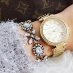 Chic Crystal Flowers Statement Bracelet