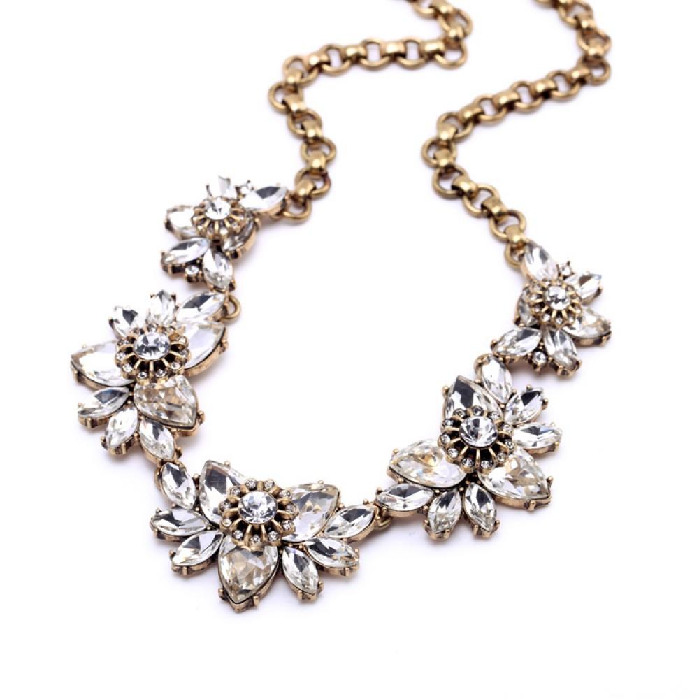 Crystal Sakura Blossom Elegant Bib Necklace