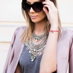 Max Edgy Gunmetal Crystal Encrusted Necklace
