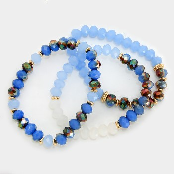 Electric Blue Ombre Faceted Beaded Multi Strand Bracelets