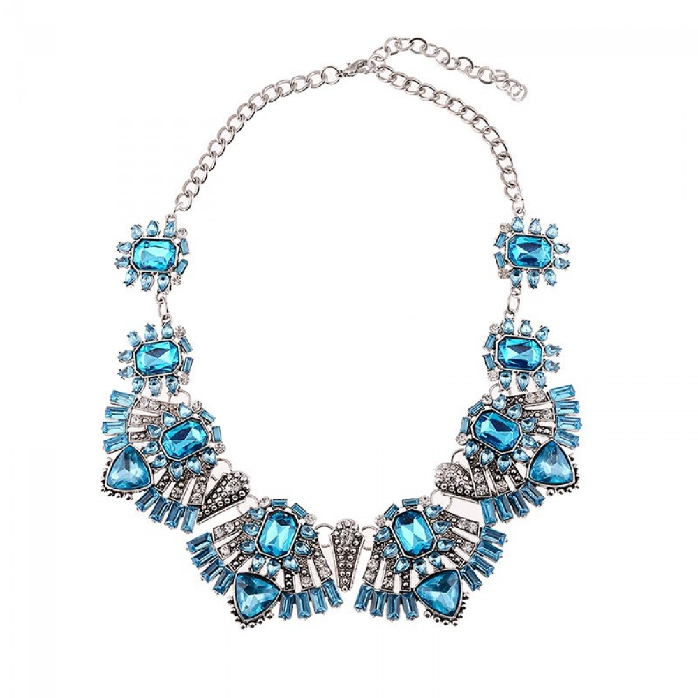 elsa icy blue deco statement bib necklace