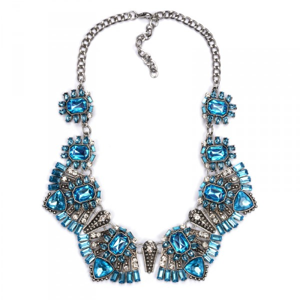 Elsa Icy Blue Art Deco Crystal Bib Necklace
