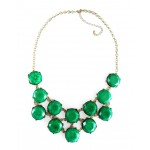 Emerald Marbled Stone Bauble Box Necklace