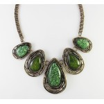 Moss Green Marble Teardrop Stones Necklace