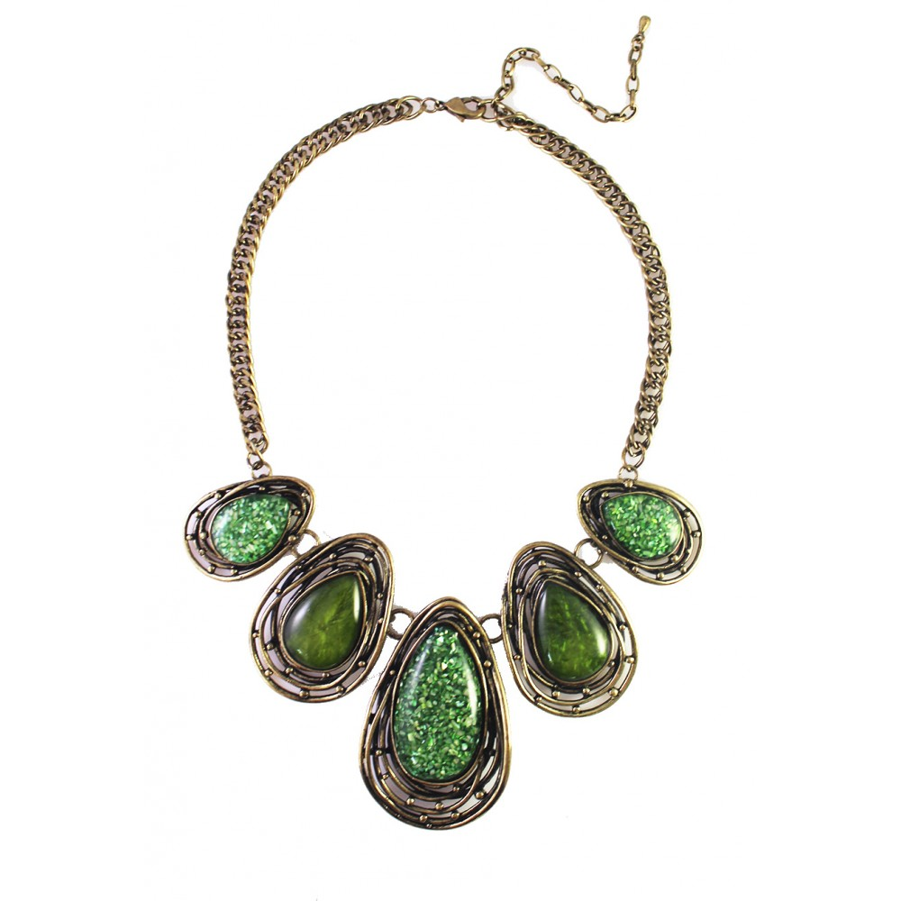 Marble Stone Jewelry : Moss green marble teardrop stones statement bib necklace