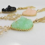 Liora Teardrop Druzy Stone & Filigree Tassel Necklace