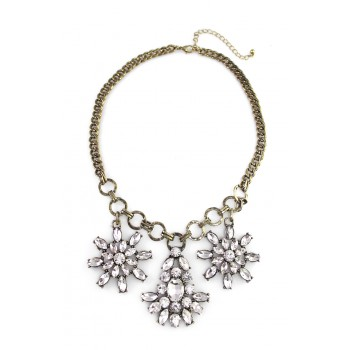 Crystal Flower Cascade Statement Necklace Set