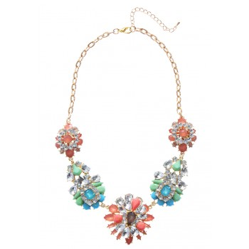Pastel Crystal Flower Bouquet Neon Stones Bridal Statement Necklace