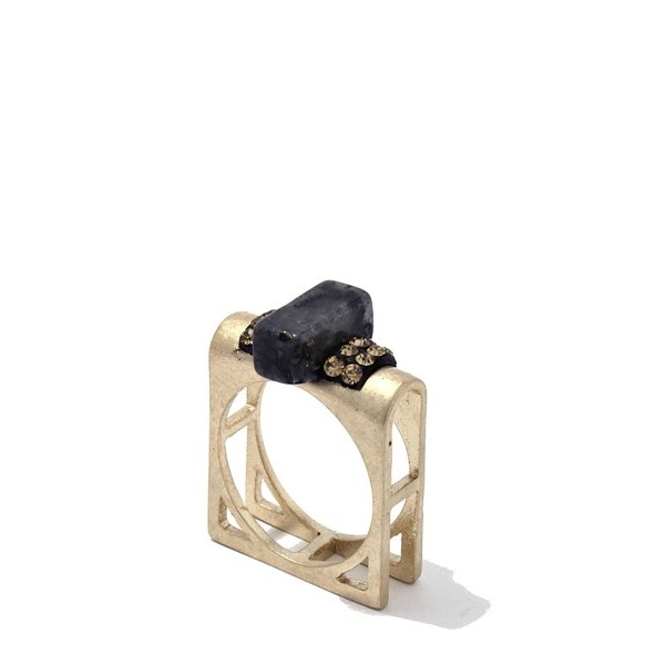 Onyx Stone Block Cut out Square Ring