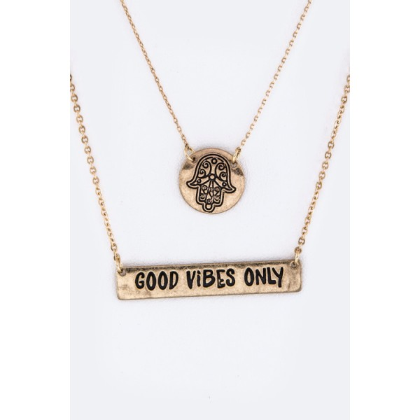 Hamsa Hand Good Vibes Only Layered Necklace