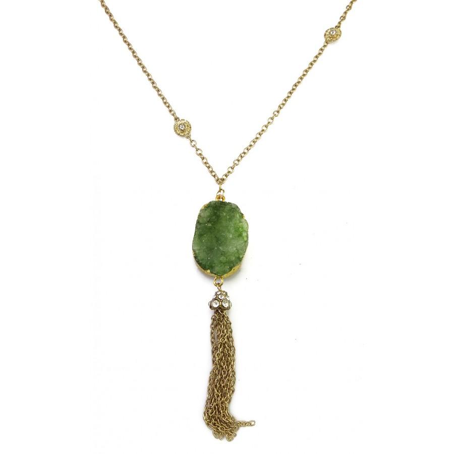Liora beads cluster green druzy stone tassel pendant necklace set liora green stone tassel pendant necklace aloadofball Images