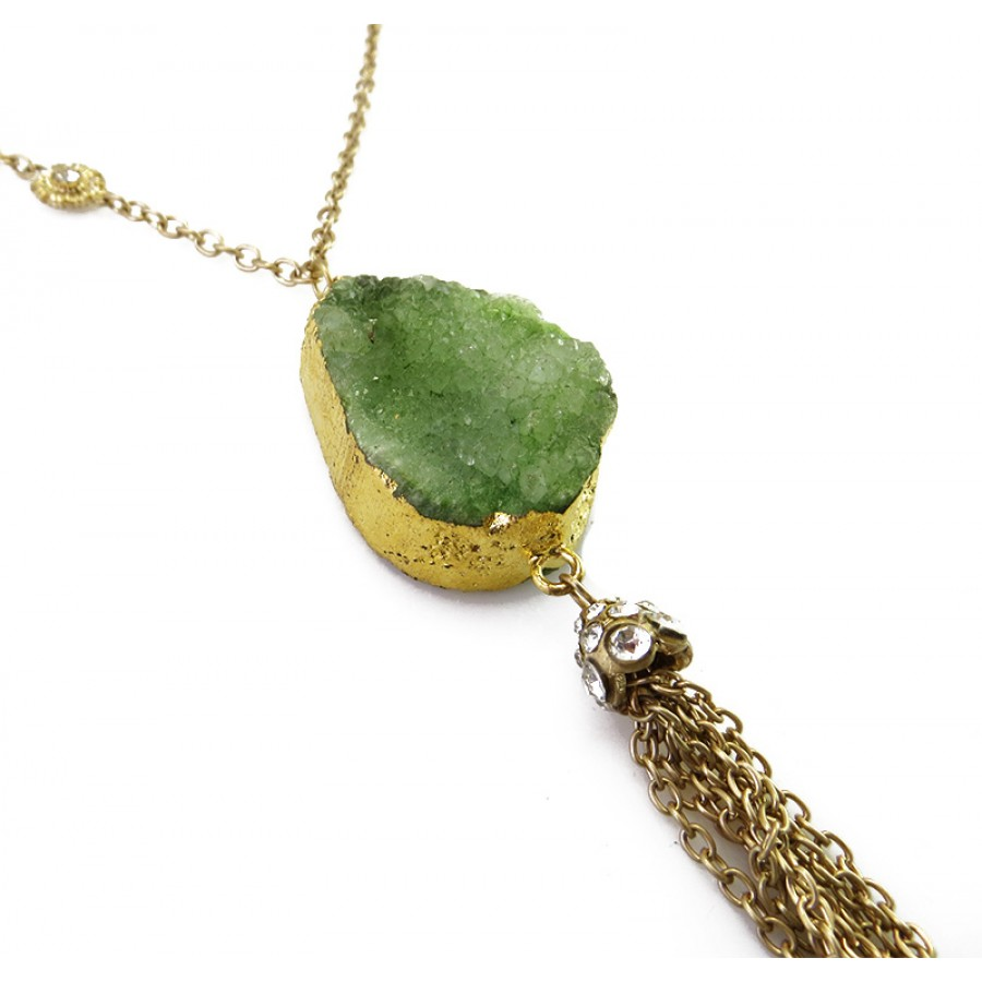 Liora beads cluster green druzy stone tassel pendant necklace set liora green stone tassel pendant necklace aloadofball Gallery