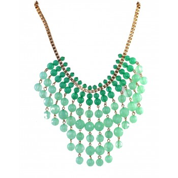 Seafoam Beads Cascade Statement Necklace