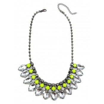 Neon Yellow Teardrop Diamante Bib Statement Necklace