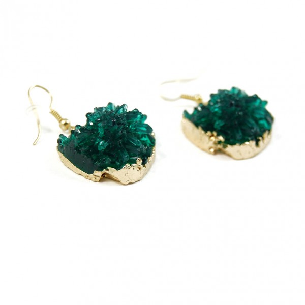 Irregular Emerald Druzy Stone Earrings