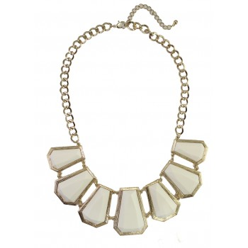 Ivory Geo Stone Panel Bib Necklace