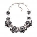Rene Smokey Grey Art Deco Crystal Bib Necklace