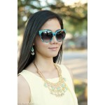 Pastel Mint Yellow Crystal Bib Necklace