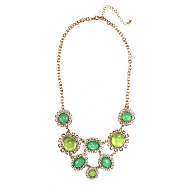 Green Moonstone Sun Bloom Bib Necklace