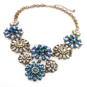 Midnight Blue Iced Flower Bouquet Statement Necklace