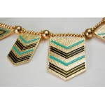 Harlow Mint & Black Tribal Chevron Necklace