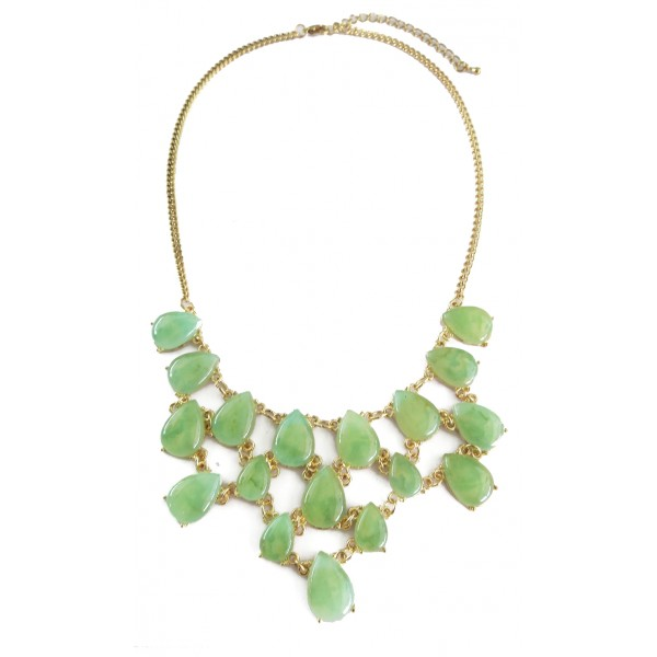 Anselle Spearmint Green Marble Teardrop Bib Necklace